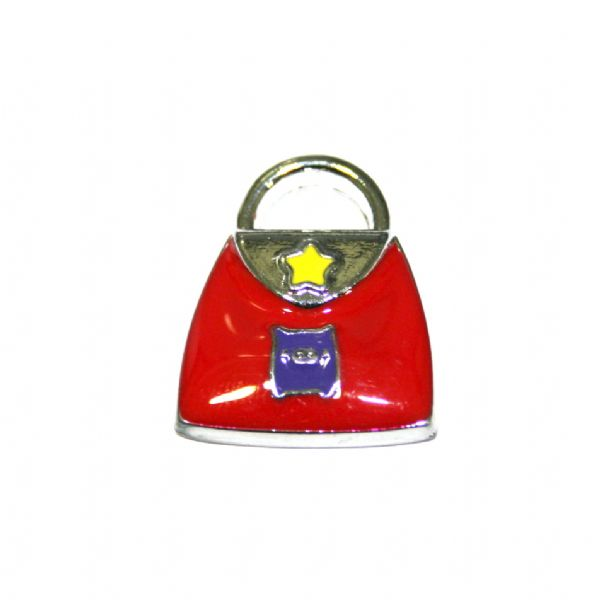 1 x 19*15mm rhodium plated red handbag with little cute piggy enamel charm - SD03 - CHE1224